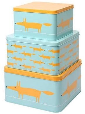 Dexam Scion Mr Fox Set Of 3 Square Cake Tins Blue