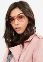 Missguided Pink Coloured Lens Aviator Sunglasses