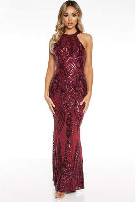 Quiz Berry Sequin High Neck Fishtail Maxi Dress