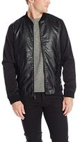 Perry Ellis Men's Faux Leather and Nylon Bomber