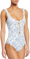 Marysia Swim Palm Springs Scalloped Lace-Up Maillot