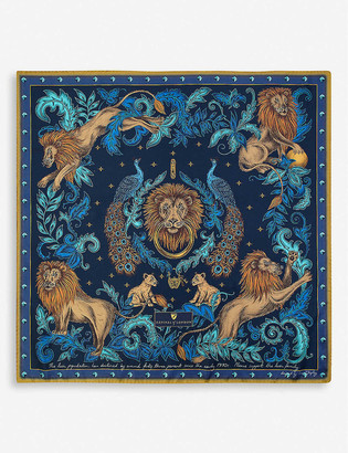 Aspinal of London Lion and Peacock silk scarf