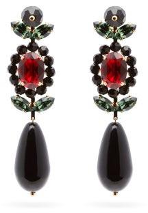 Simone Rocha Crystal & Bead Drop Earrings - Womens - Black Red