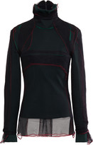 Y/Project Layered Tulle And Stretch-cotton Fleece Turtleneck Top
