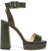Jimmy Choo Jax/pf 125 Croc-effect Leather Platform Sandals - Womens - Green