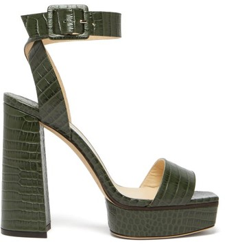 Jimmy Choo Jax/pf 125 Croc-effect Leather Platform Sandals - Green