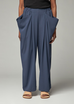 Issey Miyake 132 5 Women's Satin Back Drape Bottoms Pants in Navy