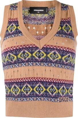 DSQUARED2 V-neck print sweater vest