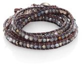 Chan Luu 4MM Grey Freshwater Pearl, Mystic Lab, Crystal & Leather Beaded Wrap Bracelet
