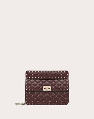 Valentino Medium Rockstud Spike Nappa Leather Bag Women Ruby Lambskin 100% OneSize