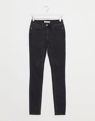 JDY jake regular skinny jeans in washed black denim