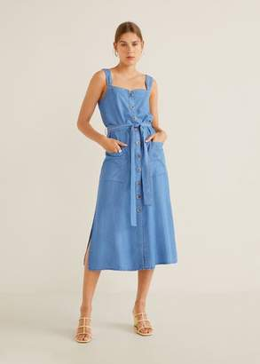 MANGO Denim style soft dress medium blue - 2 - Women