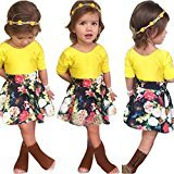 Fheaven Baby Girl Floral Dress +Short Sleeve Yellow Top T-Shirt Outfits Set Clothes (3T)