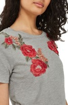 Topshop Women's Floral Applique Tee