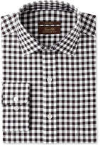 Tasso Elba Men's Regular Fit Non-Iron Burgundy White Bold Herringbone Gingham Dress Shirt, Created for Macy's