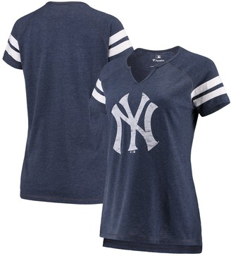 New York Yankees Women's Fanatics Branded Navy/White Wordmark Notch Neck Tri-Blend T-Shirt