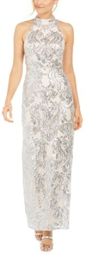 Vince Camuto Sequined Halter Gown
