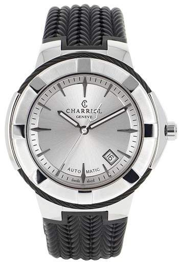 Charriol Celtica Silver Dial Black Rubber Men's Watch