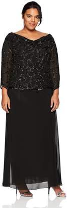 J Kara Women's Plus Size Three Quarter Sleeve Beaded Dress