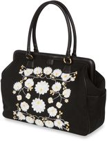 Bed Bath & Beyond The Bumble CollectionTM Embossed Flora Frame Diaper Bag in Black