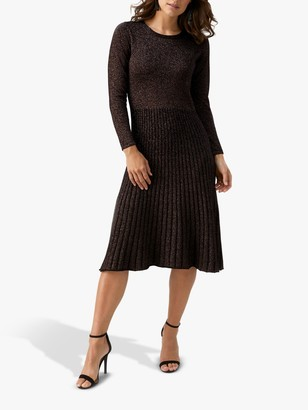Pure Collection Shimmering Pleat Detail Knitted Dress, Black