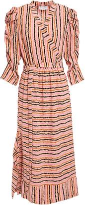 Hofmann Copenhagen Celina Gathered Printed Stretch-crepe Wrap Dress