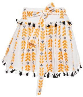 Dodo Bar Or Embroidered Tasseled Cotton-gauze Mini Skirt