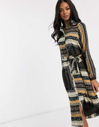 Vero Moda tie front midi shirt dress in mixed print