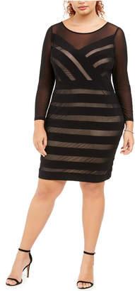 Adrianna Papell Plus Size Illusion Striped Dress
