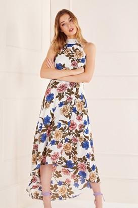 Yumi Asymmetric Floral High Neck Dress