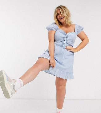 Skylar Rose Plus milkmaid mini dress in textured check