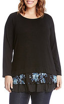 Karen Kane Plus Lace Embroidery Inset Sweater