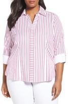 Foxcroft Plus Size Women's Taylor Non-Iron Stripe Cotton Shirt