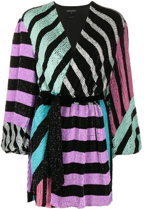 retrofete Colourblock Stripes sequin wrap dress