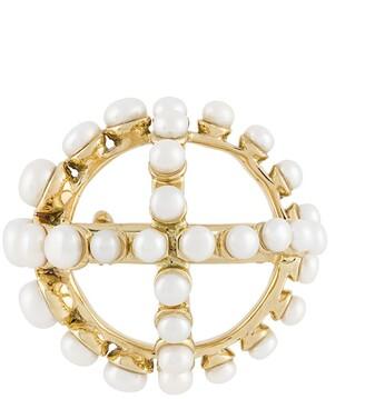 Patou Circle Cross-Applique Brooch