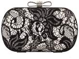 Snowskite Satin Finished Black Lace Rhinestone Metal Bow Closure Clasp Fashion Clutch