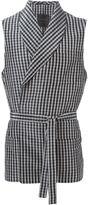 La Perla gingham check belted vest