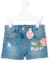 MonnaLisa rose patch denim shorts