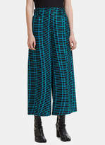 Issey Miyake Skew Cropped Wide Leg Pants in Turquoise and Black