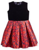 Oscar de la Renta Sleeveless Velvet & Mikado Dress, Navy/Ruby, Size 12-24 Months
