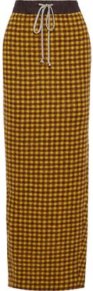 Rick Owens Pillar Checked Alpaca And Wool-blend Maxi Skirt