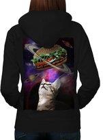 Space Burger Cat Fun Women L Hoodie Back | Wellcoda