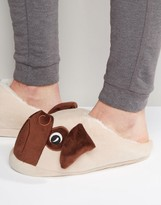 Asos Pug Slip On Slippers In Brown