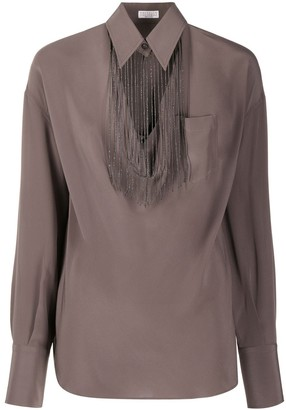 Brunello Cucinelli Fringed Collar Detail Blouse