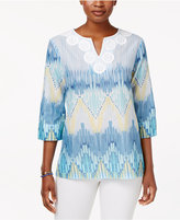 Alfred Dunner Blue Lagoon Cotton Printed Tunic