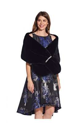 Little Mistress Adrianna Papell Faux Fur Crystal Trim Wrap