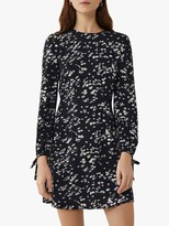 Warehouse Daisy Print Mini Dress, Black