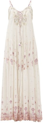 Camilla Tanami Road Beaded Lace-up Silk-crepe Dress - Womens - White Multi