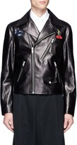 Alexander McQueen Hummingbird embroidered patch leather jacket