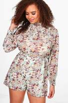boohoo Plus Cassie High Neck Floral Playsuit cream